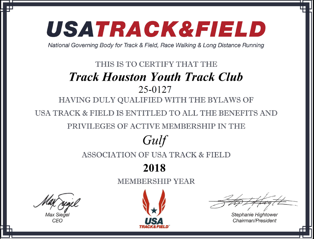 Usatf Club Certificate Track Houston Youth Track Club